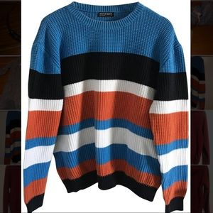 Striped Unisex Fisherman Multi Color Sweater | AA